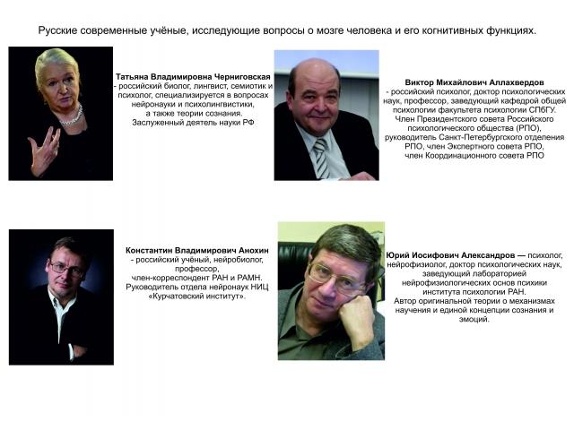 01_Русские современные учёные, исследующие вопросы о мозге человека и его когнитивных функциях.